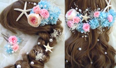 海 貝殻髪飾り