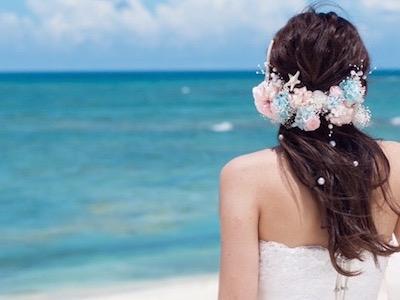 ハワイ ウェディングフォト 髪飾り