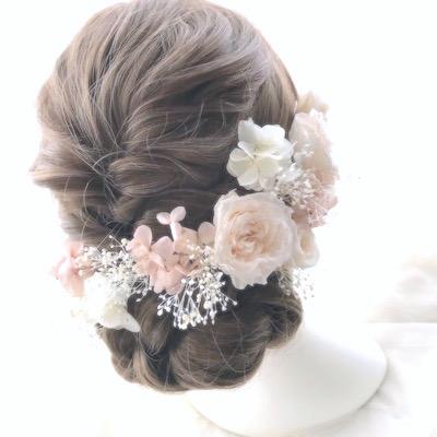 リングピロー お揃い花髪飾り