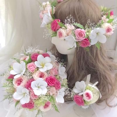 プルメリアの花冠とブーケ