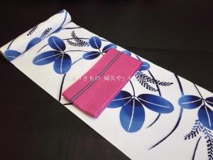 徳島 浴衣 注染 白地・藍色ぼかし萩