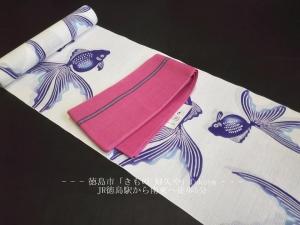 竺仙(ちくせん)浴衣反物「綿絽・白地に紫のグラデーション金魚」2018年おすすめ浴衣コーディ