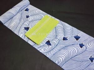 徳島 浴衣コーディネート・白地に水色波に千鳥ぼかし