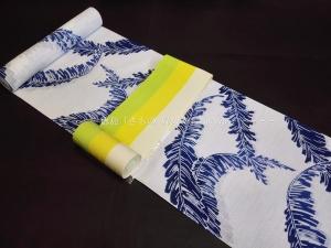 竺仙(ちくせん)浴衣反物「綿絽・芭蕉の葉 藍色ぼかし」|徳島 浴衣コーディネート