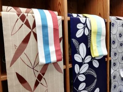 徳島そごう近く・呉服店 ふくやの浴衣 ベージュ・紺白