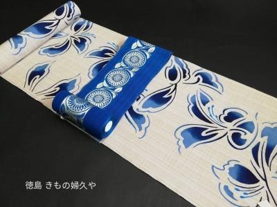 竺仙取扱い半巾帯・浴衣帯・ブルー(七緒掲載帯)