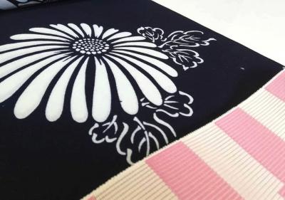 紺地の浴衣 伝統的 古典柄 菊 とくしま