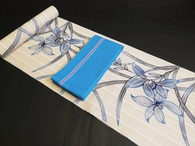 茶紬 美の欄と藍色のゆかた 徳島きものふくや