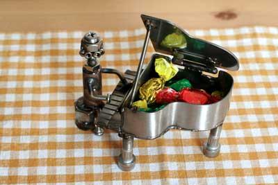 ボルト*ナットのロボット置き物ステンレス雑貨