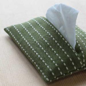 千歳緑色刺し子 ポケットティッシュケース 木綿