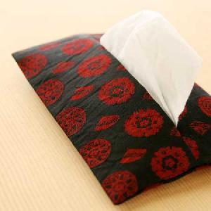 黒地赤扇柄ポケットティッシュケース(正絹)