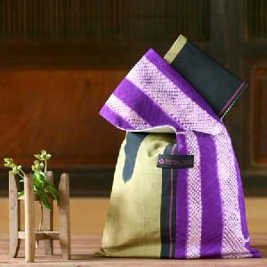 銘仙縞模様紫竹柄絞り バッグM
