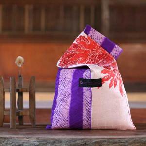 薄桃花柄紫竹柄絞り バッグS
