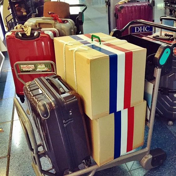 パリ展へ出発時の荷物。9個。