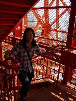 東京タワー登り中