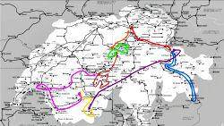 スイス鉄道旅行ルート