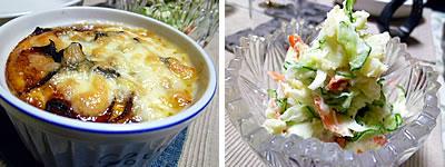 豆腐の卵グラタン、ポテトサラダ