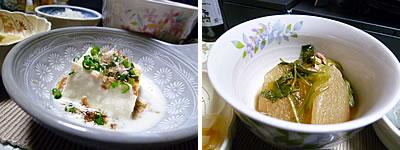豆乳豆腐、大根と鶏の煮物