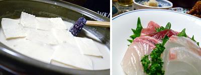 豆乳豆腐、刺身
