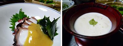 地蛸とワカメの芥子酢味噌・豆乳湯葉