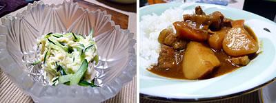 ホタテ缶と胡瓜のマヨネーズ和え・カレーライス