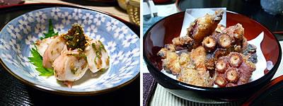水蛸の梅肉和えと吸盤の唐揚げ