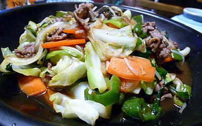 ラム肉の野菜炒め