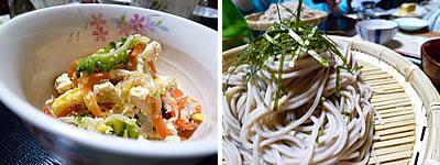 煎り豆腐・蕎麦