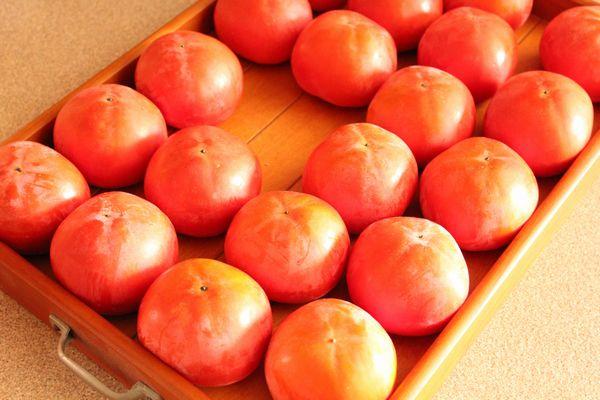 毎日この中から熟した柿を探し出す