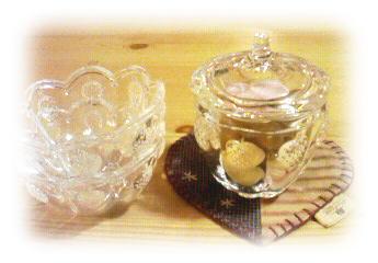 イチゴ柄のガラス器