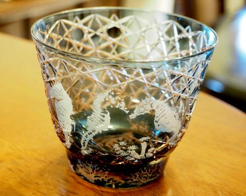 切子ガラスにサンドブラスト