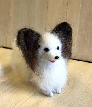 羊毛フェルトマスコット 犬 パピオン