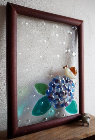 ガラス 紫陽花