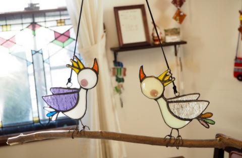 ステンドグラス 鳥 木