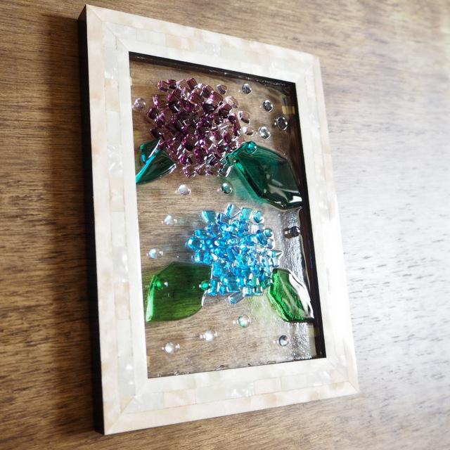 ガラス 紫陽花 フュージグ  Unitガラス工房ガラス教室