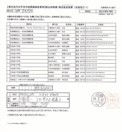 東北地方太平洋沖地震義援金を日本赤十字社に振り込みました!