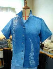 麻藍染アロハシャツ前