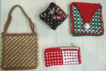 フレーム織り機で織った小物