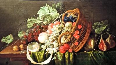 台所のテーブル(籠のある静物)
