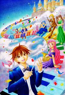 オリジナルイラスト。絵。雲の上の演奏会2013。 大空。空中で音楽を奏でる演奏家たちと指揮者。お城。