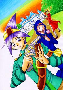 オリジナルイラスト。絵。2012年年賀状。少年・少女と追う敵。お城。