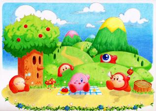 イラスト。星のカービィ・ファンアート2012。カービィとワドルディ、ワドルドゥ、ウイスピーウッズがほのぼのピクニック。のんびりした風景。