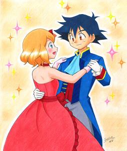 アニメ・ポケモンXY&Zイラスト 「サトシとセレナ!ダンスパーティでゲットだぜ!!」の回。ホントはこういうシーンが見たかった。サトシとセレナが踊る様子。ラブラブ。恋愛要素含む。
