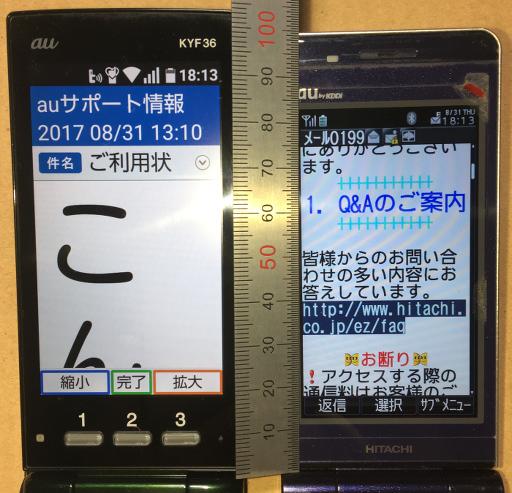 メール画面(特大vs大)