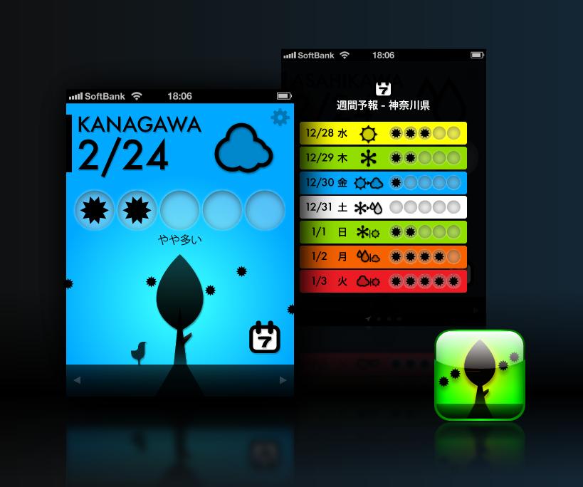 花粉チェッカー(AppBankまおアプリ)、じつおデザイン。