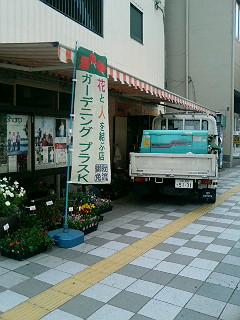 花屋にトラック