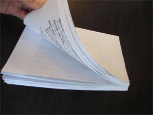 プリントミスの裏紙の再利用