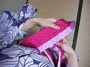 半巾帯の結び方【文庫結び】1