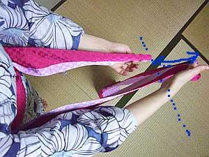半巾帯の結び方【貝の口結び】1
