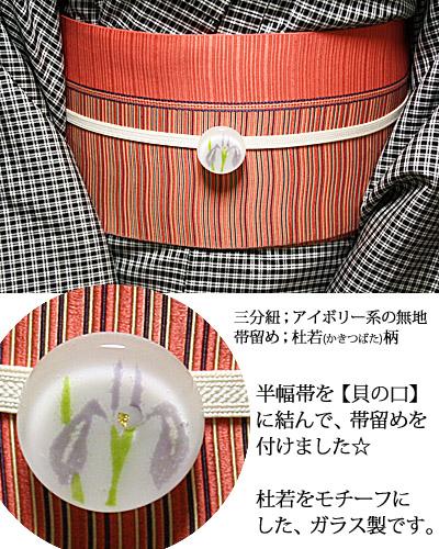 帯留めコーデ☆(ガラス製の杜若柄帯留め)